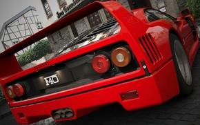 Картинка Красный, Авто, Машина, Феррари, Ferrari, F40, Графика, Суперкар, Рендеринг, Supercar, Ferrari F40, F 40, Ferrari ...