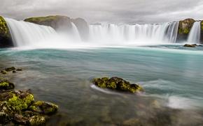 Картинка пейзаж, водопад, Исландия, Годафосс