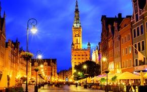 Обои ночь, огни, улица, дома, Польша, фонари, Gdansk