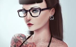 Картинка взгляд, челка, арт, живопись, волосы, девушка, очки, тату