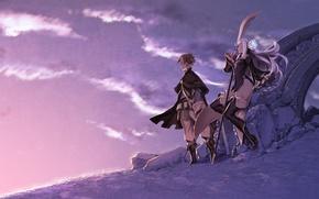Картинка небо, девушка, облака, оружие, аниме, арт, парень, miwa shirow, bravely second, magnolia arch