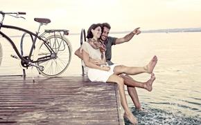 Картинка любовь, велосипед, пара, пирс, отношения
