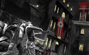 Картинка ночь, люди, здания, Игра, Германия, флаги, убийство., The Saboteur, диверсант, Саарбрюкен