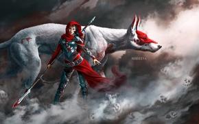Обои поза, животное, оружие, черепа, взгляд, арт, туман, кровь, девушка, фантастика