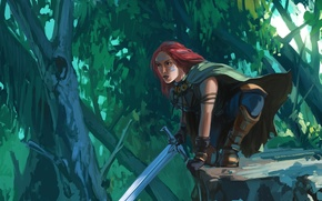 Картинка лес, взгляд, девушка, меч, арт, рыжая, Forest Ranger