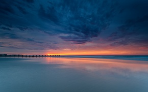 Обои море, небо, вода, облака, закат, природа, фон, обои, вечер, wallpaper, sky, sea, sunset, широкоформатные, background, ...