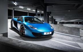Картинка McLaren, Синий, Макларен, Парковка, Blue, Суперкар, MP4-12C, Parking, Supercar