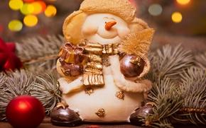 Картинка украшения, елка, Новый Год, Рождество, снеговик, Christmas, Xmas, decoration, Merry