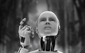 Обои капля, робот, андроид