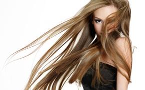 Картинка девушка, волосы, белый фон, красивая