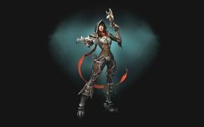 Обои девушка, доспехи, Diablo, простой фон, Demon Hunter, арбалеты