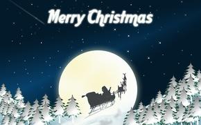 Картинка небо, праздник, луна, графика, рождество, звёзды, christmas, санта клаус, сани, олени, ёлки