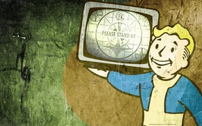 Картинка стилизация, телевизор, Fallout, vault boy