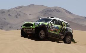 Картинка Песок, Зеленый, Гонка, Холмы, Mini Cooper, Rally, Dakar, MINI, Передок, Мини Купер