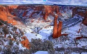 Картинка зима, снег, красный, корьер