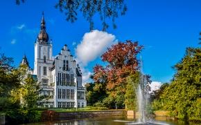 Картинка небо, облака, деревья, пруд, парк, замок, фонтан, Нидерланды, Leeuwenstein Castle