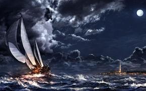 Картинка море, облака, ночь, тучи, шторм, город, луна, корабль, парусник, арт, шпиль