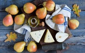 Обои масло, доска, листья, сыр, натюрморт, фрукты, груши, осень