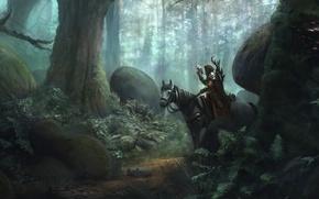 Картинка лес, деревья, конь, птица, арт, наездник, сокол, охотник