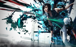 Картинка abstract, girl, background, Electronic Arts, DICE, video games, Faith, Mirrors Edge 2, Faith Connors, Mirror's …