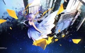 Обои арт, swd3e2, аниме, замок, девушка, полет, vocaloid, xingchen