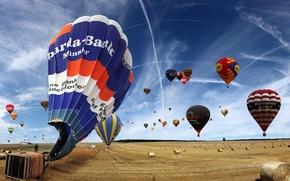 Обои небо, поле, Воздушные шары
