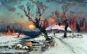 Картинка 1891, Юлий Клевер, Закат солнца зимой