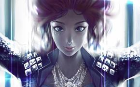 Картинка девушка, украшения, лицо, арт, куртка