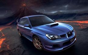 Обои вулкан, молнии, Авто, Subaru, Impreza