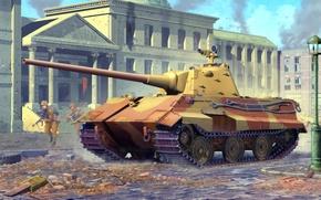 Картинка war, art, painting, tank, ww2, E-50, panzer