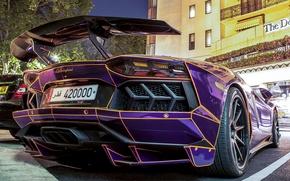 Картинка Lamborghini, Street, Tron, LP700-4, Aventador, Back, Building, Parking, Supercar