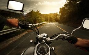 Картинка Природа, Вечер, Дорога, Поворот, Разметка, Wallpaper, Photo, Road, Drive, Motorcycle, Multi-Monitors, Biker, Full Throttle, Ride, …