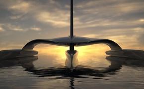Картинка sunset, Atlantic Ocean, solar power, sail across, Mayflower Autonomous Research Ship (MARS for short)