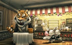 Обои мороженое, заказ, часы, столик, кафе, кролики, тигр, клиент, касса, опаздывают, официанты