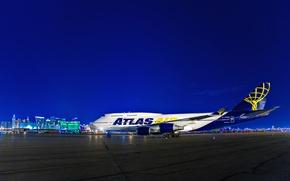 Картинка ночь, огни, Лас-Вегас, США, самолёт, Boeing 747, Маккаран, международный аэропорт, Воинг 747