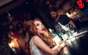 Обои макияж, бутылка, Helen Molchanova, девушка, стойка, бар