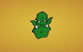 Обои голова, минимализм, орк, orc, зеленый, морда, клыки, монстр