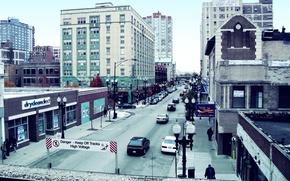 Картинка машины, люди, здания, USA, америка, чикаго, Chicago, сша, illinois