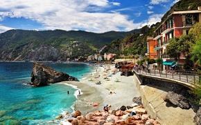 Обои италия, monterosso, море, побережье, город