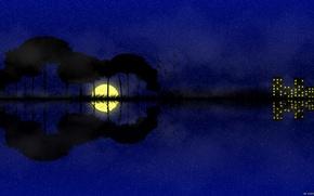 Картинка ночь, природа, сюрреализм, гитара, Луна, интересное
