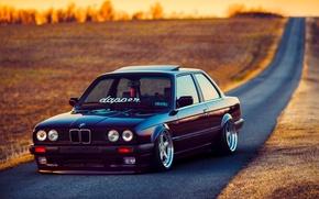 Картинка BMW, Car, Front, Black, Sun, E30, Stance, Dapper, Ligth, Beam