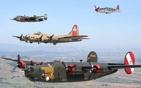 Картинка небо, полет, самолет, истребитель, парад, пропеллер, бомбардировщик, звено
