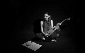 Картинка девушка, ноты, музыка, гитара