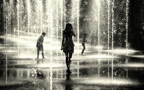 Картинка девушка, капли, дети, город, фонтан