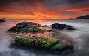 Картинка вода, пейзаж, закат