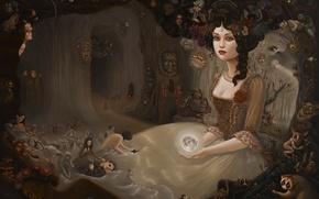 Обои девушка, сюрреализм, луна, роза, шар, лица, детали, пышное платье