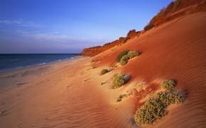 Картинка песок, океан, склон