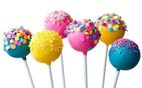 Обои палочки, конфеты, сладкое, глазурь, присыпка, желтые, голубые, розовые