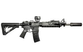 Картинка оружие, фон, фонарик, карабин, штурмовая винтовка