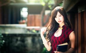 Обои макияж, chingcho Chang, девушка, восточная, книга, декольте